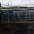 新庁舎建設工事:庁舎側の歩車道ブロック据付工事を行ってます。